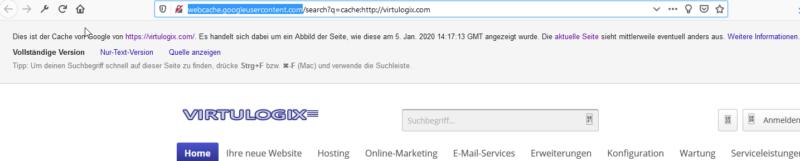 Cache-Anzeige einer Website